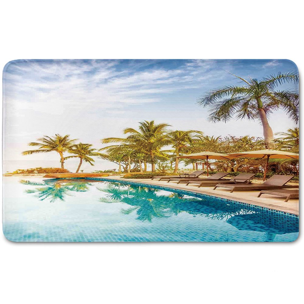 Memory Foam Bath Mat,House Decor,Aerial View of A Pool in A Health Resort Spa Hotel with Exotic Elements Sports Modern PhotoPlush Wanderlust Bathroom Decor Mat Rug Carpet with Anti-Slip Backing,Multi
