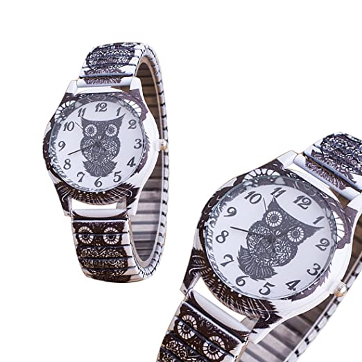 Amazon.com: joyliveCY Women Steel Watch Vintage Casual Watch Skull Peacock Owl Watch Female Dress Wristwatch: Watches