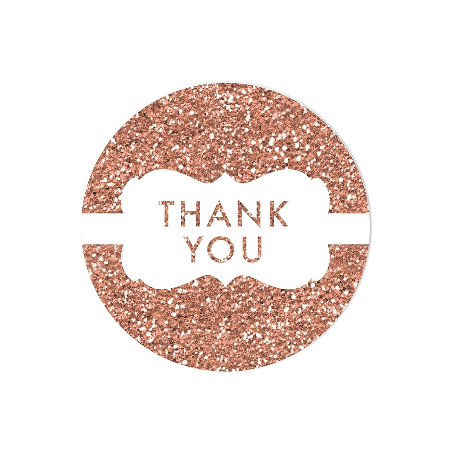 Amazon com andaz press round 2 inch circle label stickers faux rose gold glitter frame thank you 40 pack champagne colored wedding baby shower birthday