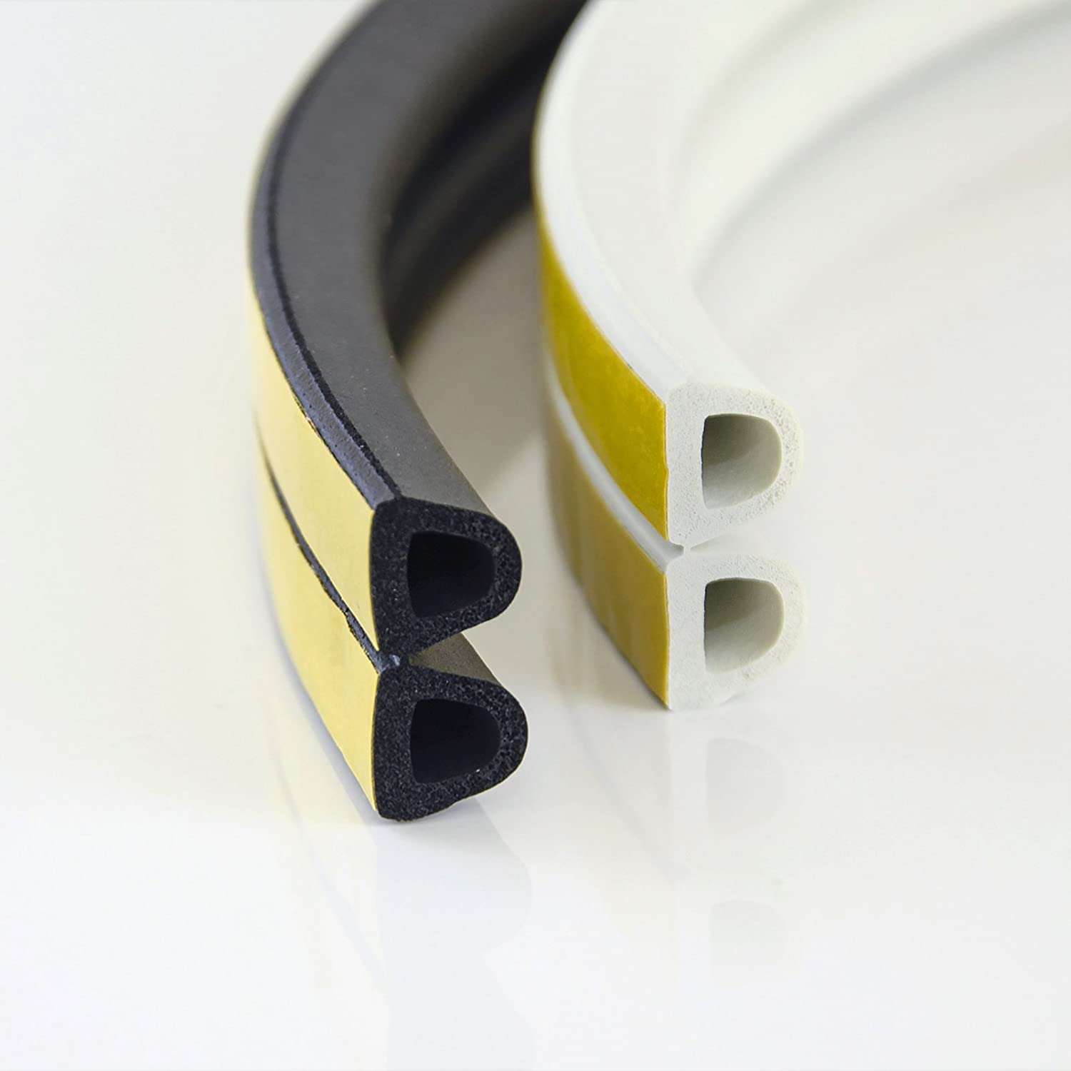 1m rubber sealing strip 14 x 12mm black D profile draught seal for windows and doors EPDM