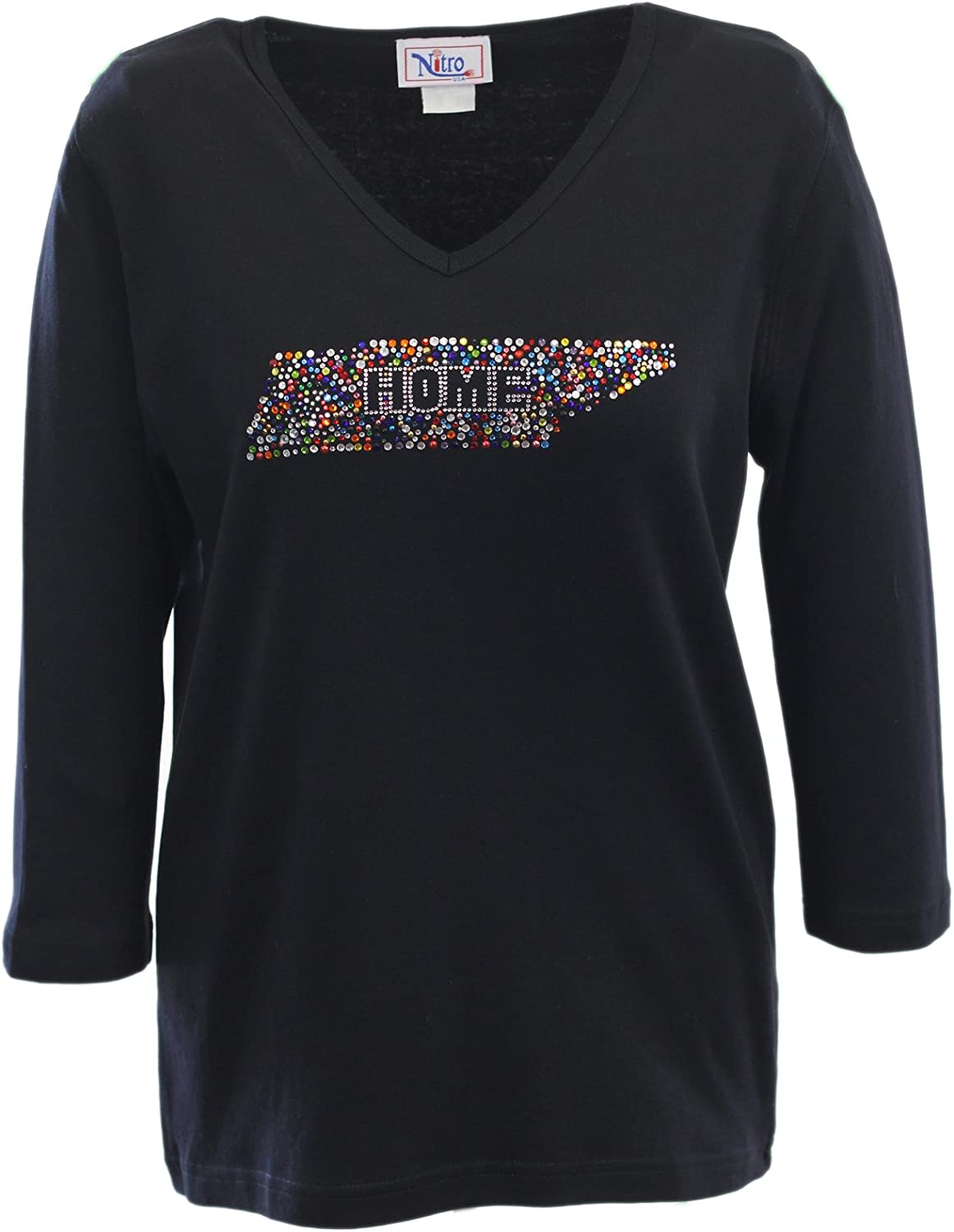 Nitro USA NCAA Women's V-Neck 3/4 Sleeve Top with Bling State Home Confetti