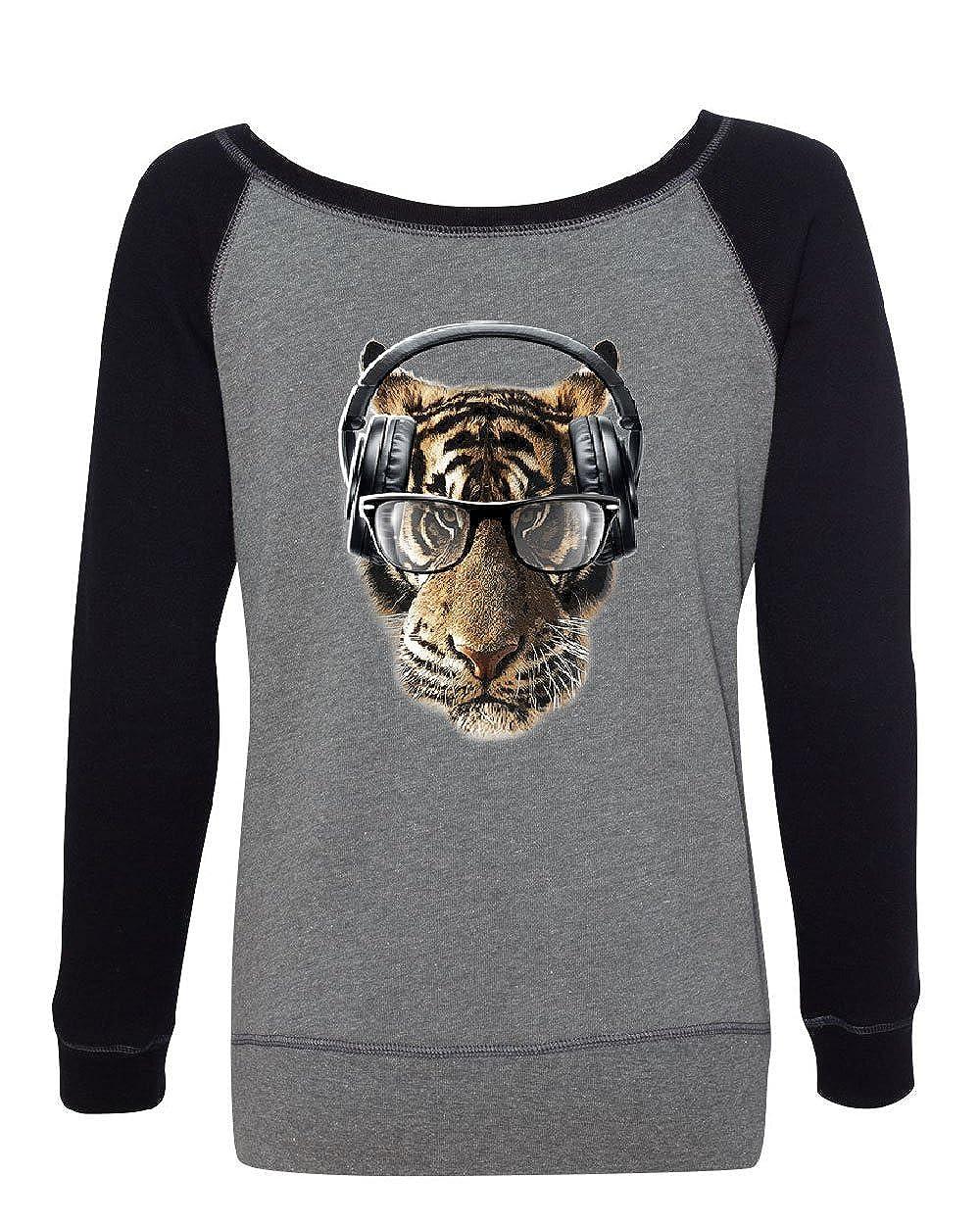 Freaky Tiger Womens Sweatshirt Music Headphones Glasses Animal DJ Party