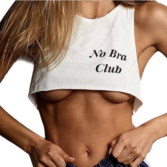 arrives b94e1 b44fb Hirolan Damen Tanktops Brief Drucken Weste Kurz BH Bluse No Bra Club  Unterwäsche Camisole T-Shirt Frauen Sporttop Ärmel Cami Bustier Sport BH  Gym Yoga ...