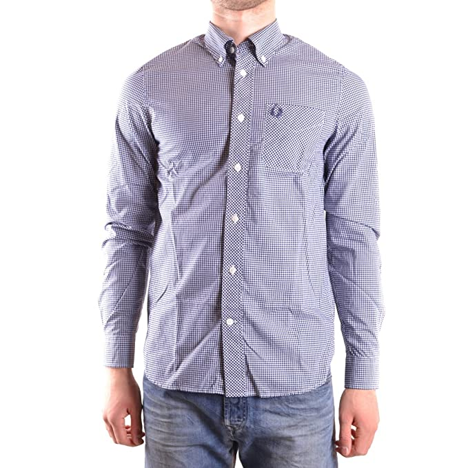 Fred Perry Classic Gingham, Camisa para Hombre, Azul (Medieval ...