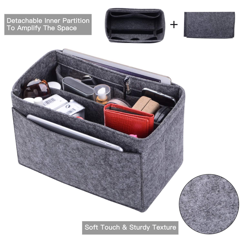 Purse Organizer, Felt Bag Organizer Insert For LV Speedy, Neverfull, Tote, Handbag,Shaper 6 Colors 3 Sizes (Large, Grey)
