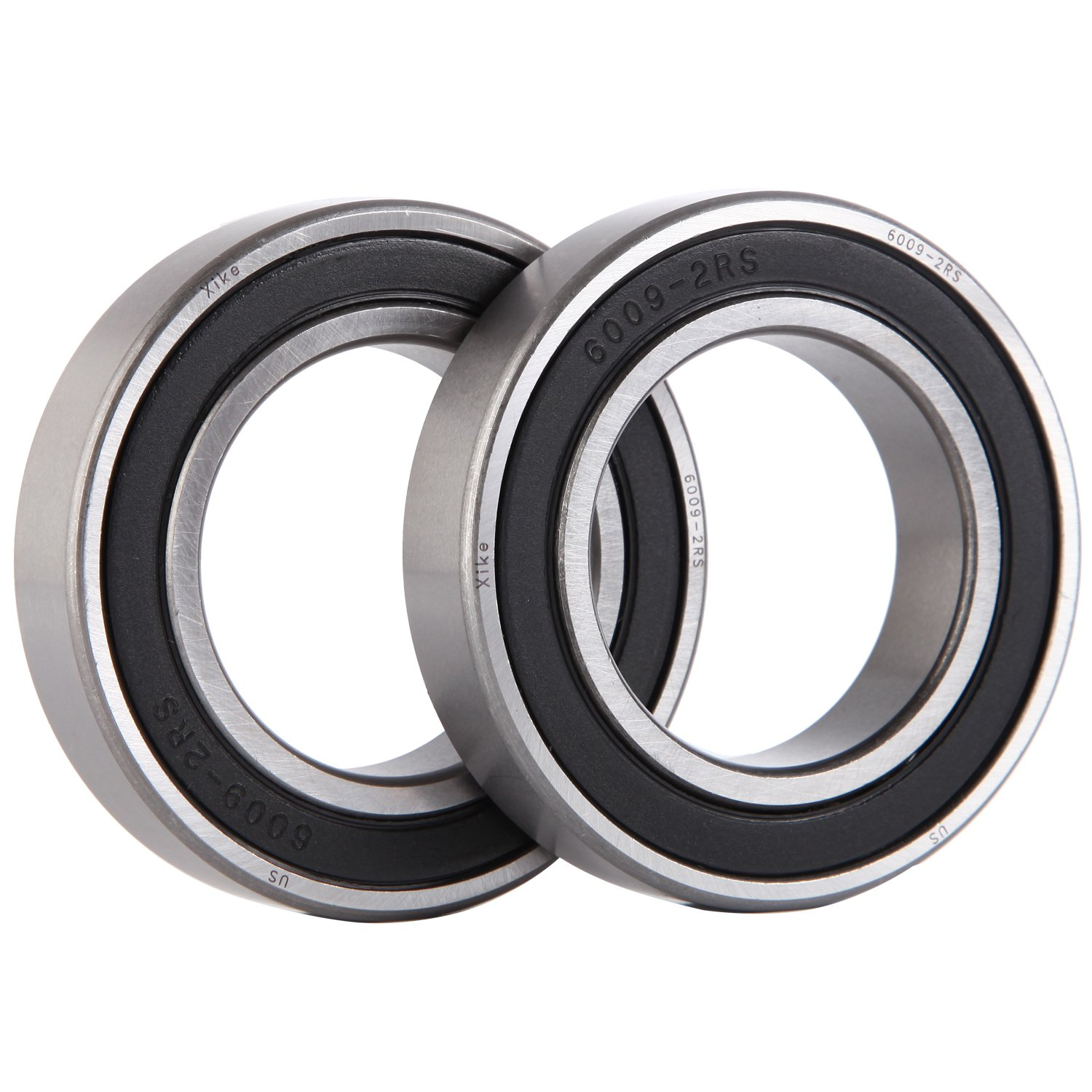 Pre-Lubricated and Stable Performance and Cost Effective XiKe 4 Pcs 6009-2RS Double Rubber Seal Bearings 45x75x16mm Deep Groove Ball Bearings.