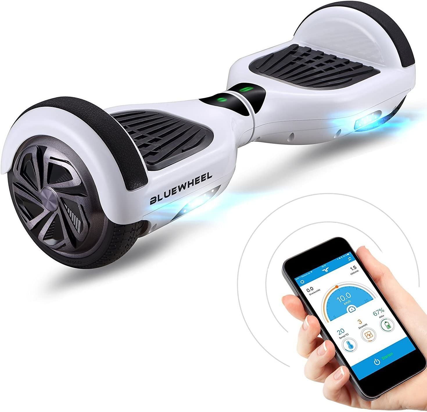 Mangoo Hoverboard Patinetes el/éctrico Scooter 6.5 con Bluetooth LED Negro