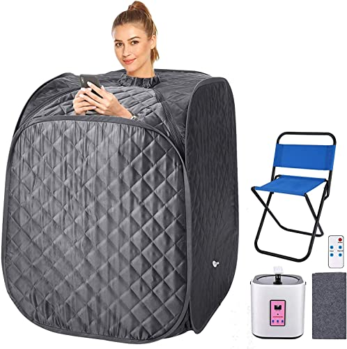2L Home Steam Sauna Portable Personal Sauna Tent Folding Indoor Sauna Spa Weight Loss Detox with Remote Control, Timer, Foldable Chair Grey