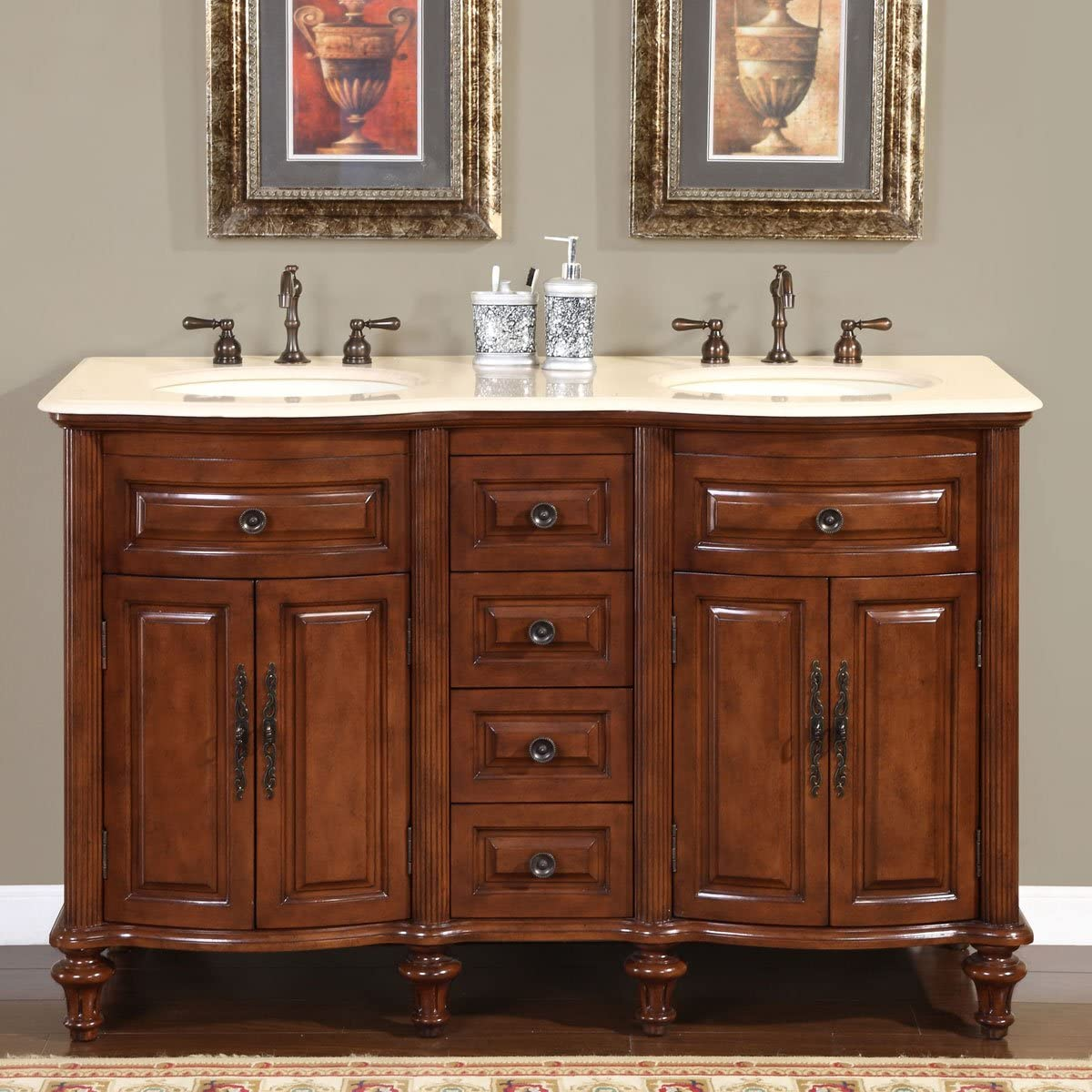 Silkroad Exclusive HYP-0719-CM-UIC-55 Marble Stone Top Double Sink Bathroom Vanity with Cabinet, 55 , Dark Wood
