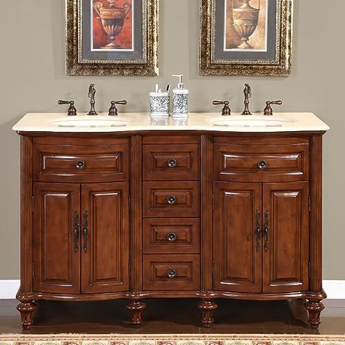 Silkroad Exclusive HYP-0719-CM-UIC-55 Marble Stone Top Double Sink Bathroom Vanity