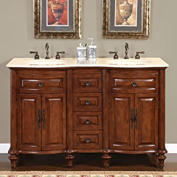 Silkroad Exclusive Marble Stone Top Double Sink Bathroom Vanity with Cabinet   55 Inch. Amazon com  Silkroad Exclusive Marble Stone Top Double Sink