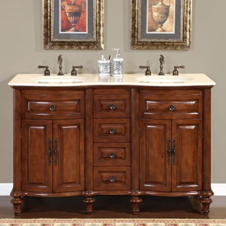 Silkroad Exclusive Marble Stone Top Double Sink Bathroom Vanity With  Cabinet, 55 Inch