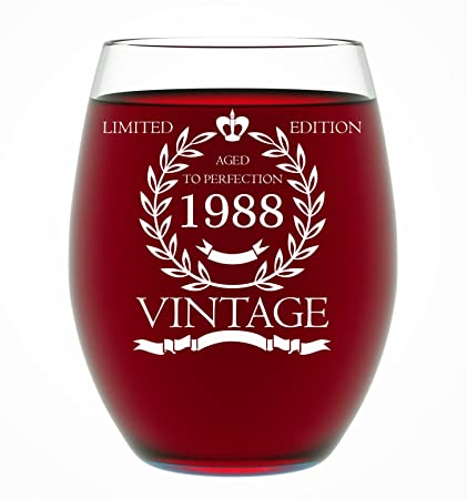 Amazon 1988 30th Birthday Gifts For Women And Men Wine Glass