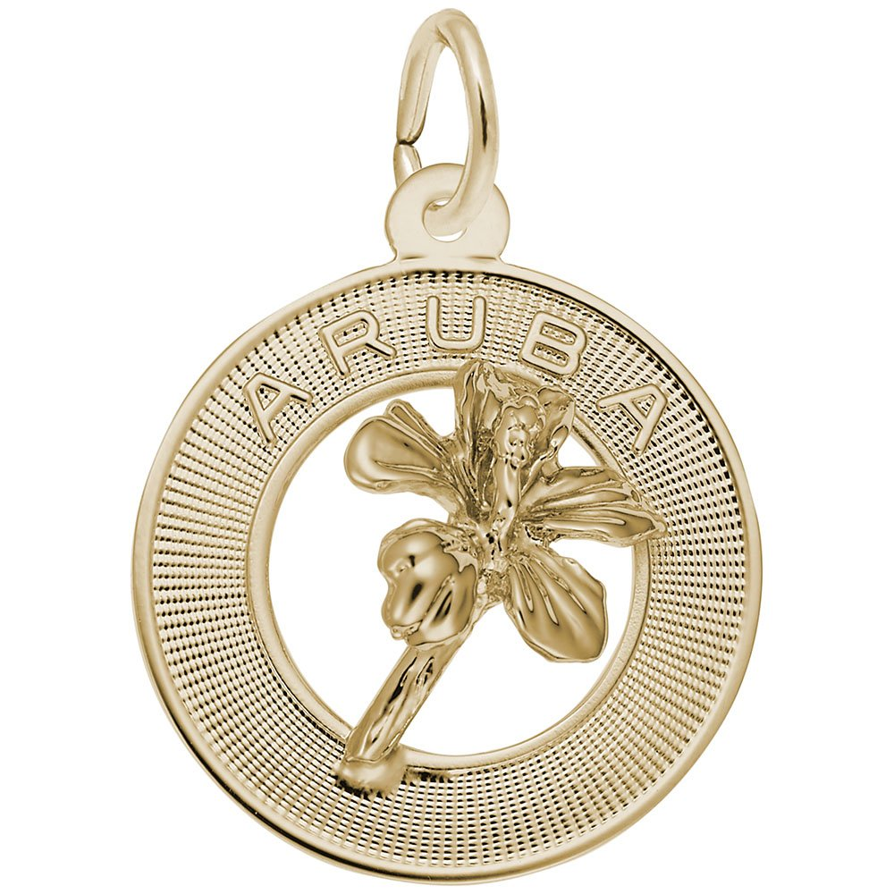 10k Yellow Gold Aruba Charm Charms for Bracelets and Necklaces