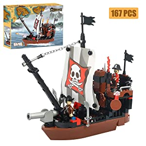 BRICK STORY Pirate Ship Building Blocks Toys with 3 Mini Toy Figures, Pirate Ships Toy Boat Building Kit Construction Toys Xmas Gifts Present Building Bricks for Boys Girls Age 6-12 and Up ,167pcs