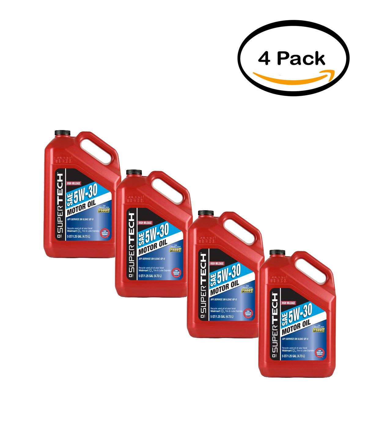 Pack de 4 - Super Tech High Mileage 5W30 aceite de motor, 5 qt: Amazon.es: Jardín