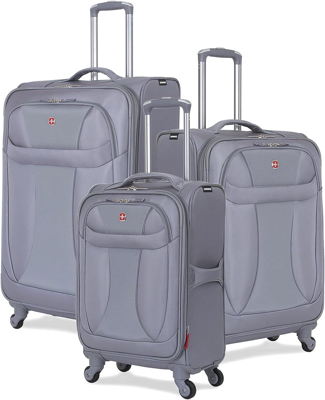 SwissGear 3 Piece Suitcase Set – Spinner Wheels – Softshell Lightweight