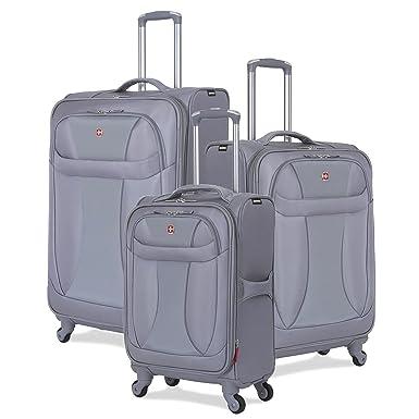 b74dddf6d SwissGear 7208 3 Piece Suitcase Set - Spinner Wheels - Softshell &  Lightweight (Grey)