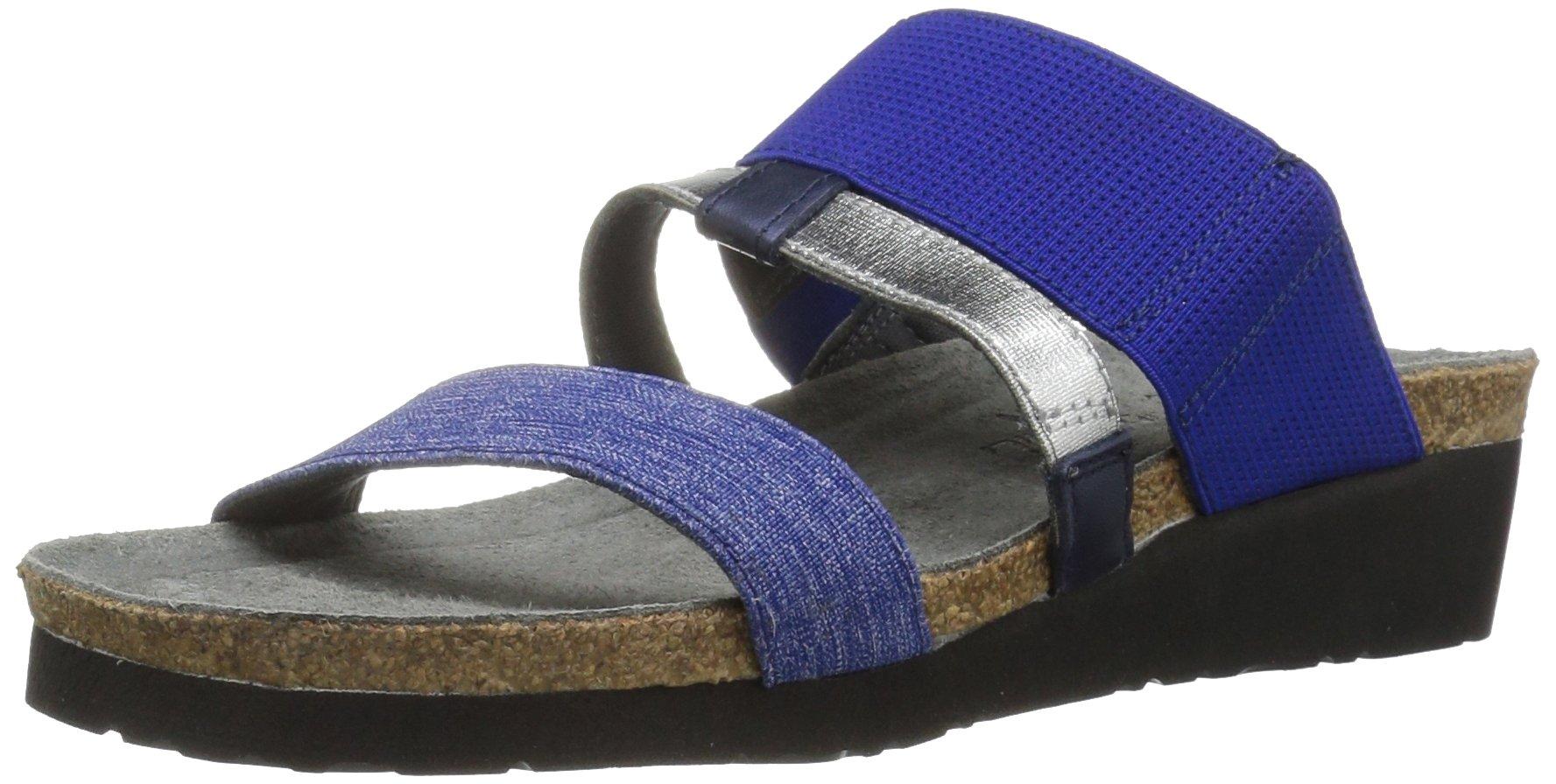 Naot Footwear Women's Brenda, Blue/Silver Stretch Combo/Polar Sea Leather, 42 (US Women's 11) M
