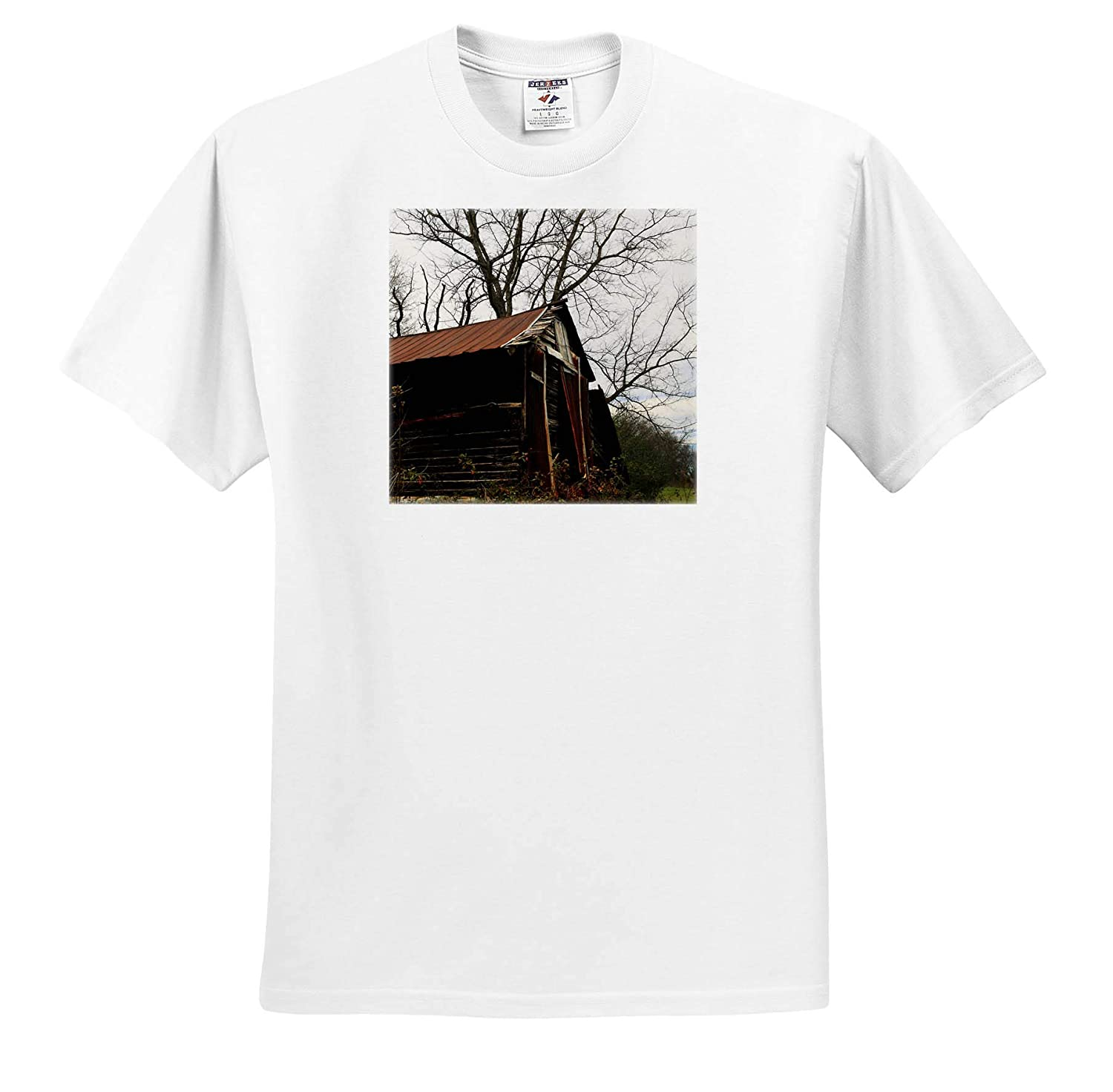 ts/_309911 3dRose Stamp City Architecture - Adult T-Shirt XL Photograph of a Vacant barn on a Farm in South Carolina