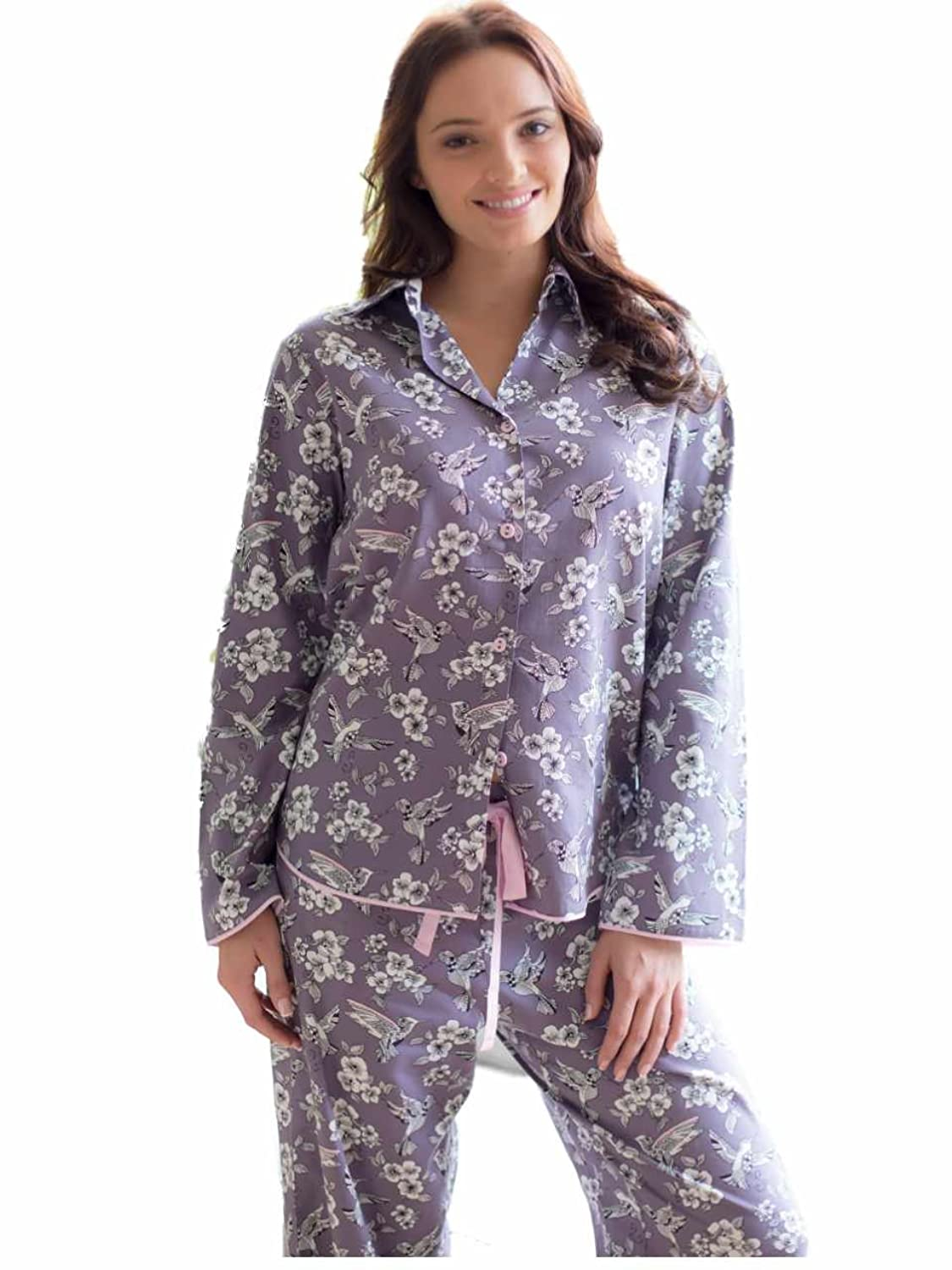Hummingbird Woven Long Sleeve Grey Bird Print Pyjama Set Size 8 to 22