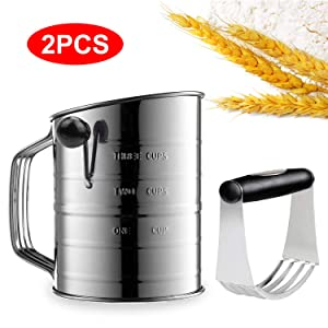 3 Cup Flour Sifter Stainless Steel with 4 Wire Agitator Rotary Hand Crank with Dough Blender Professional Pastry Cutter