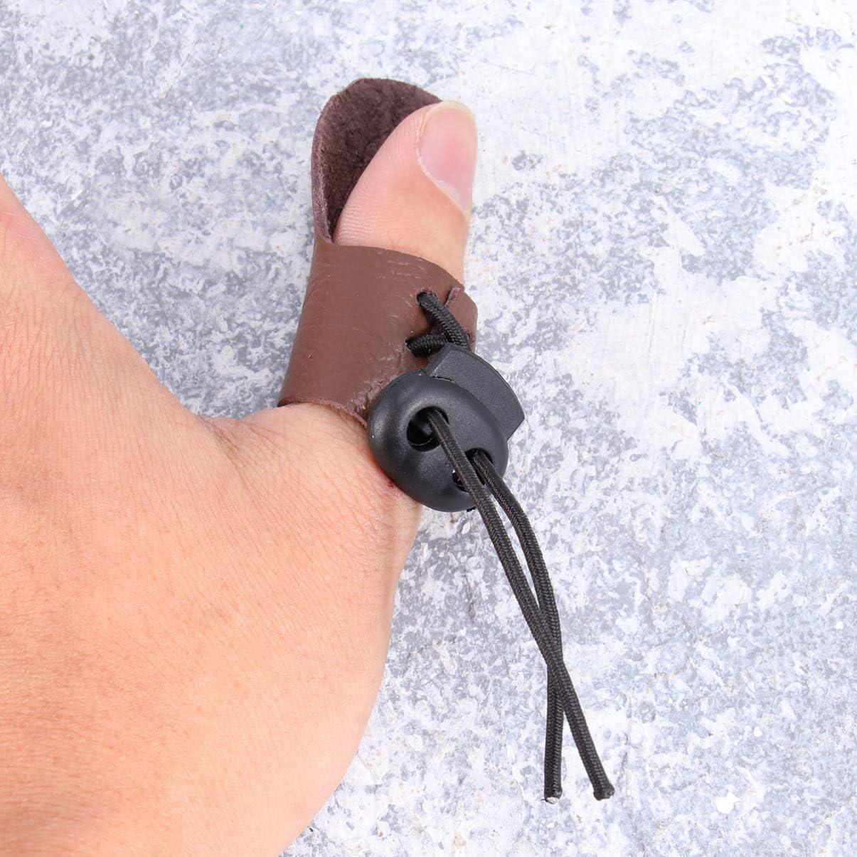 f/ür Jagd Leder 3 St/ück Fingerhandschuhe Pfeil Langbogen Bogenschie/ßen LIOOBO Fingerhandschuhe f/ür Bogenschie/ßen Daumenring