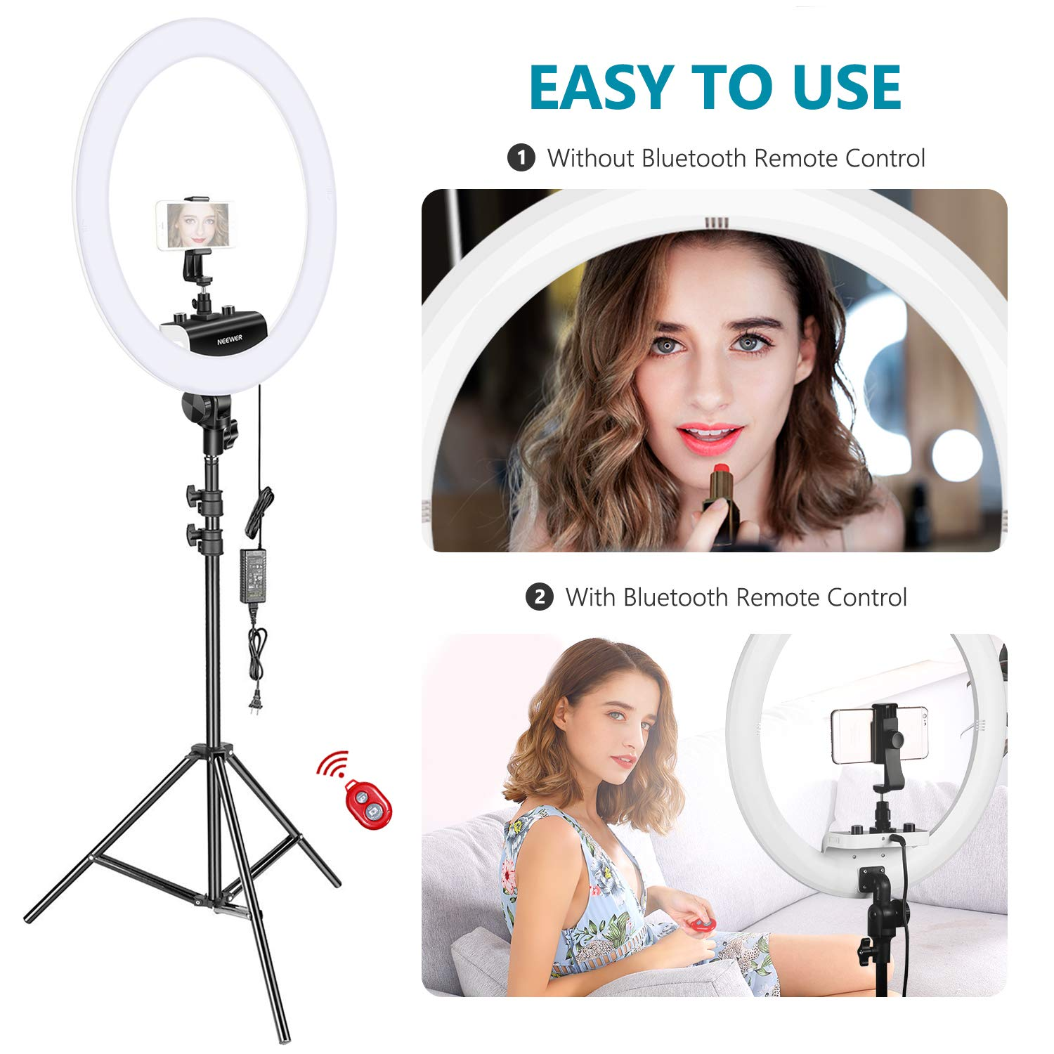 Neewer Ring Light Kit [Upgraded Version-1.8cm Ultra Slim] - 18 inches, 3200-5600K, Dimmable LED Ring Light with Light Stand, Rotatable Phone Holder, Hot Shoe Adapter for Portrait Makeup Video Shooting by Neewer (Image #7)