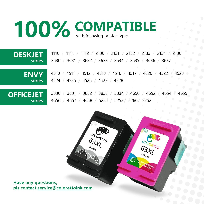 Amazon.com: Coloretto - Cartucho de tinta para HP 63XL, 1 ...