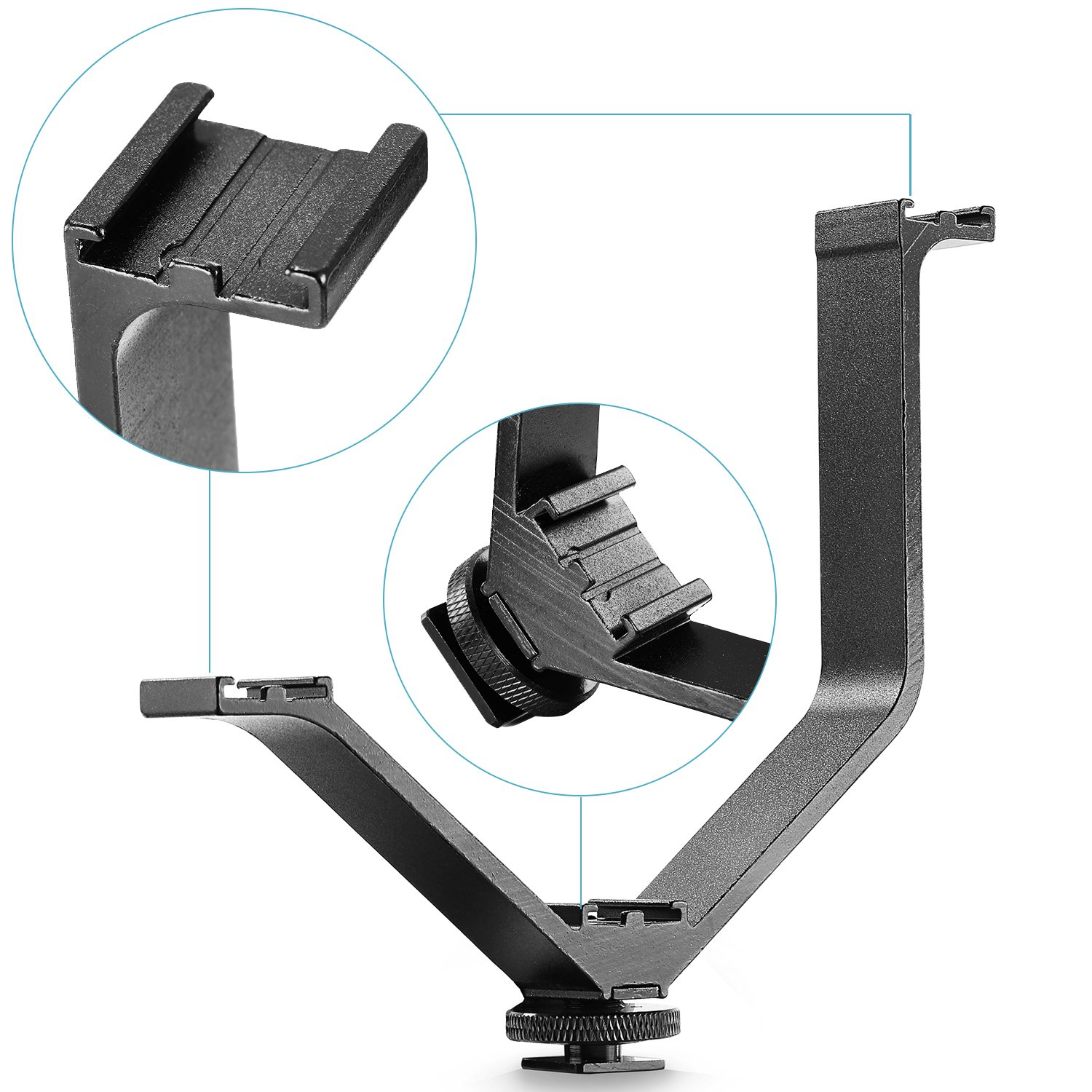 Neewer/® Aluminium Alloy 6.5//16.4cm V-shape Triple 3 Universal Cold Shoe Mount Bracket for Nikon Canon Sony DSLR Camera or Camcorder Accessory Such as LED Video Light,Microphone,Monitor,Flash