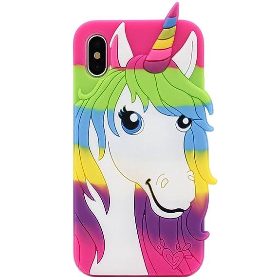 Amazon.com: iPhone X Case, MC Fashion Cute 3D Colorful Unicorn ...