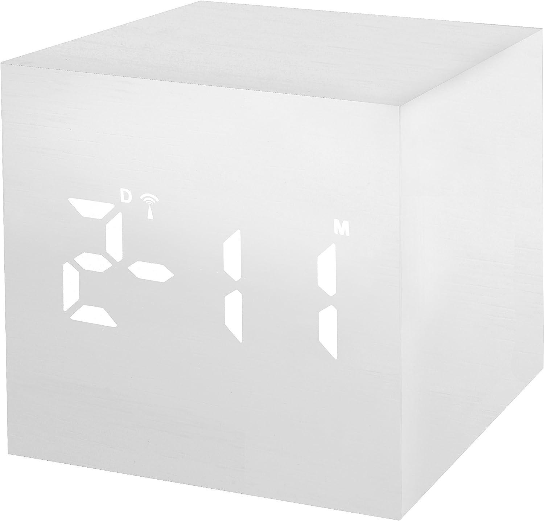 Datum- und Temperatur-Anzeige Weckfunktion Netz- oder Batteriebetrieb Bresser Funkwecker MyTime WAC mit Holz Optik Kunststoffgeh/äuse schwarz mit wei/ßer LED Uhrzeit-