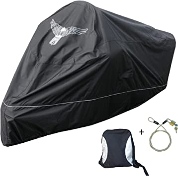 Mansport hw500 black w//lock Chopper with Cable /& Lock XXL Fits up to 108 Length Large Cruiser Tourer Formosa Covers Premium Heavy Duty Motorcycle Cover