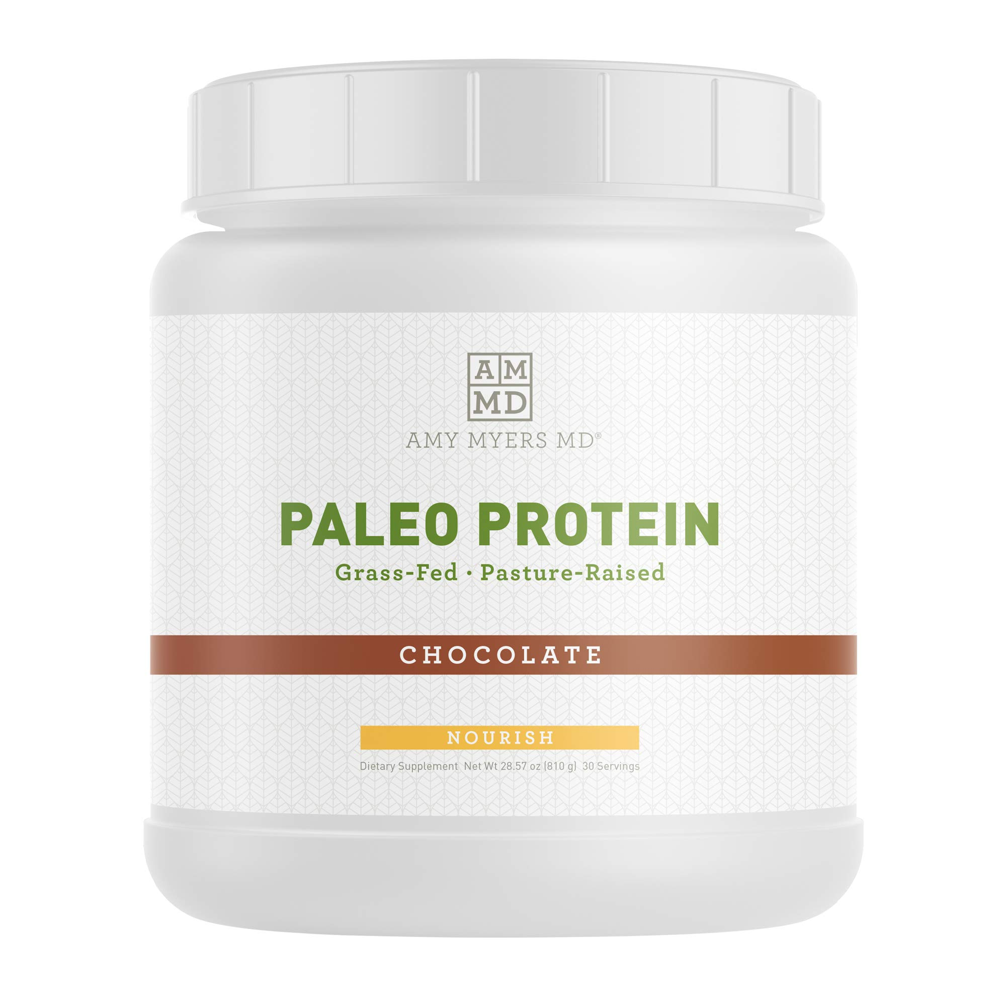 Pure Paleo Protein by Dr. Amy Myers - Clean Grass Fed, Pasture Raised Hormone Free Protein, Non-GMO, Gluten & Dairy Free - 21g Protein Per Serving - Rich Chocolate Protein Shake by Amy Myers, MD
