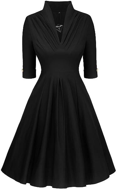 Angerella Vintage Retro de Las Mujeres Vestido Negro Junior Vestidos de Noche de la Dama de