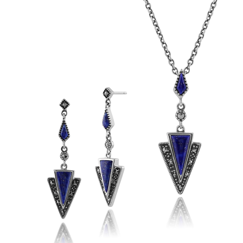 9c0219861c42 Barato Gemondo Plata De Ley 925 Lapislázuli   Marcasite Art Deco Pendientes    45cm Necklace Set