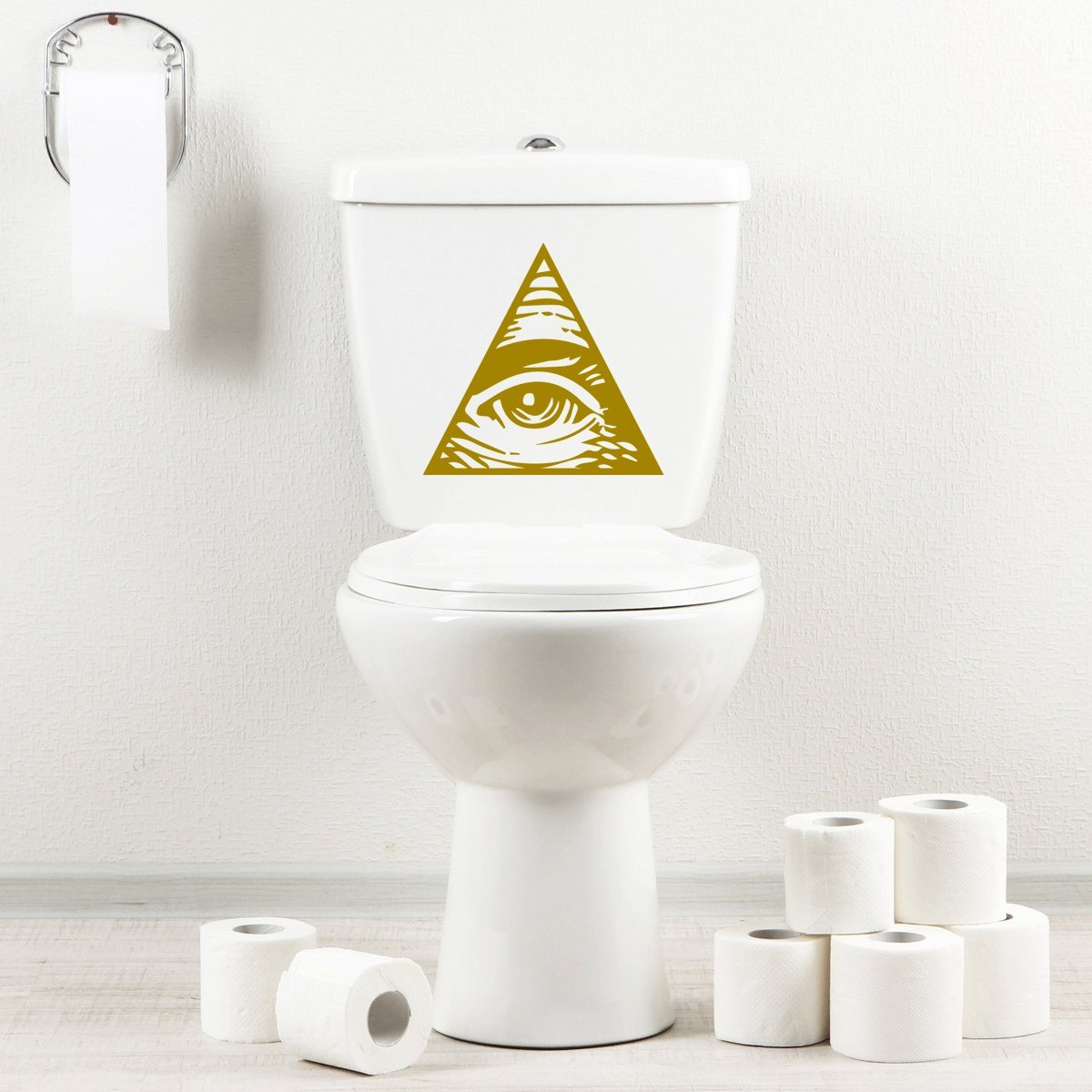 StickAny Bathroom Decal Series Illuminati Eyeball Sticker for Toilet Bowl, Bath, Seat (Black)