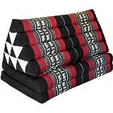 Coussin Thailandais triangle XXL avec assise 2 plis, détente, matelas, kapok, fauteuil, canapé, jardin, plage noir/rouge eleph. (81617)