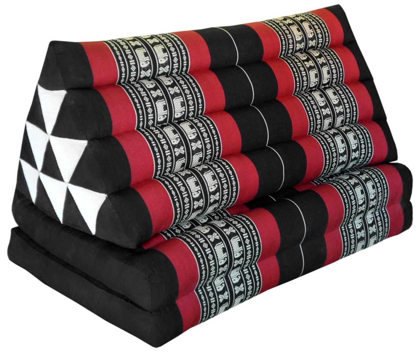Wilai Kapok Thaikissen, Yogakissen, Massagekissen, Kopfkissen, Tantrakissen, Sitzkissen - schwarz/rot Elefant (Kissen mit zwei Auflagen XXL 79x49x46 (81617))
