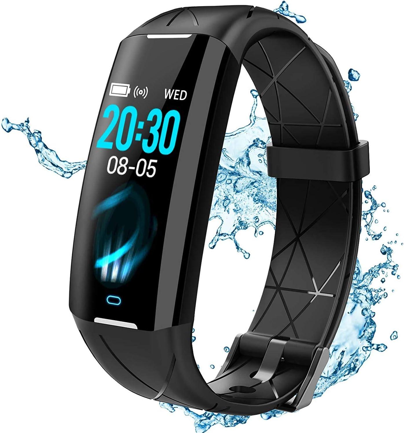 ELEGIANT Pulsera de Actividad Inteligente para Mujeres Hombres, Reloj Inteligente IP68, Monitor de Ritmo Cardíaco de Sueño, Podómetro, Calorías, 24 Modos Deportivos, Notificación SMS para Android iOS