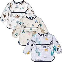 YOOFOSS Baby haklappar med ärmar vattentäta matande haklappar 3 delar målning förkläde haklappar unisex baby dregel…