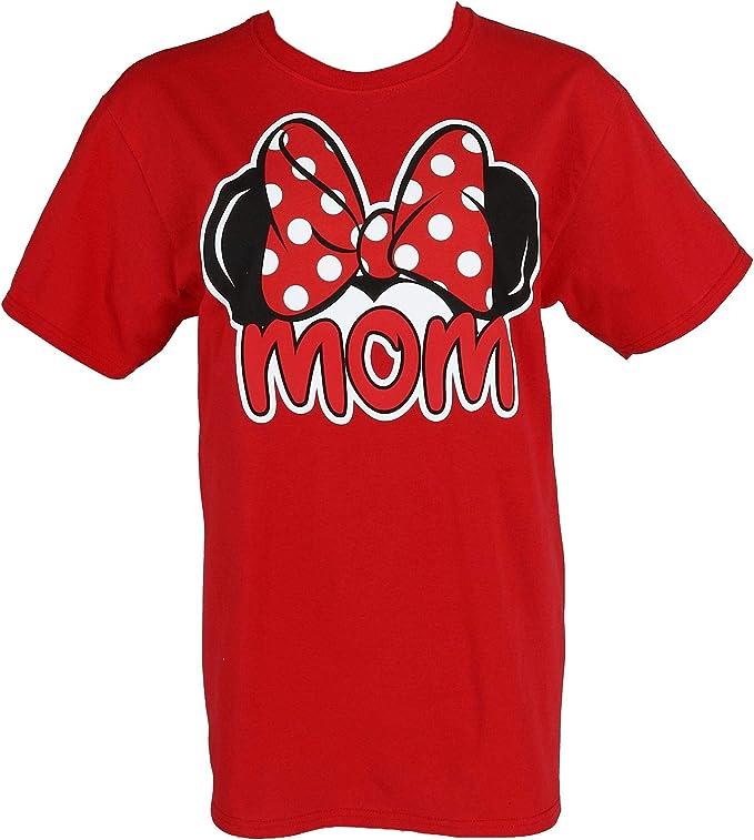 Disney Womens Minnie Mouse Mom Bow Tee Shirt