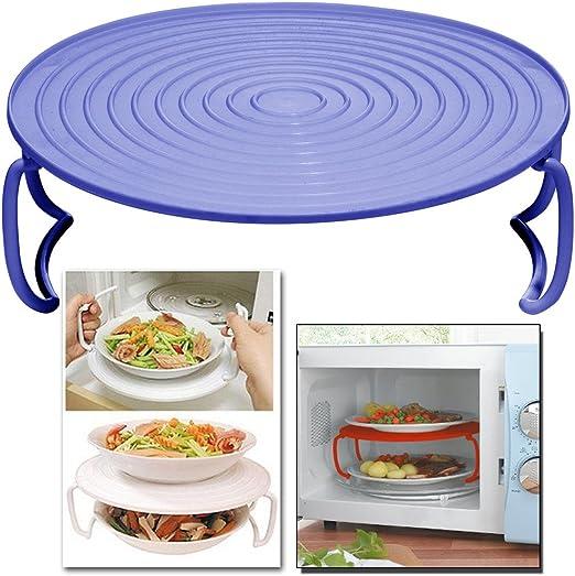 Bandeja redonda plegable de microondas para poner platos a doble ...
