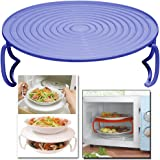 MICROWAVE FOLDING TRAY ROUND PLATE DOUBLE LAYER DISH BOWL RACK COVER HOLDER