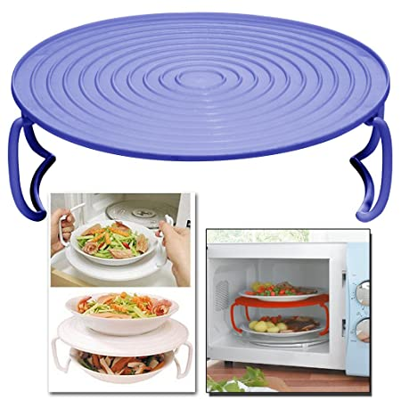 MICROWAVE FOLDING TRAY ROUND PLATE DOUBLE LAYER DISH BOWL RACK COVER HOLDER & MICROWAVE FOLDING TRAY ROUND PLATE DOUBLE LAYER DISH BOWL RACK COVER ...
