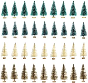 KATERT 36pcs Artificial Sisal Christmas Tree Mini Pine Tree with Wood Base DIY Crafts Home Table Top Decor Christmas Ornaments Green, Blue, Gold and Ivory