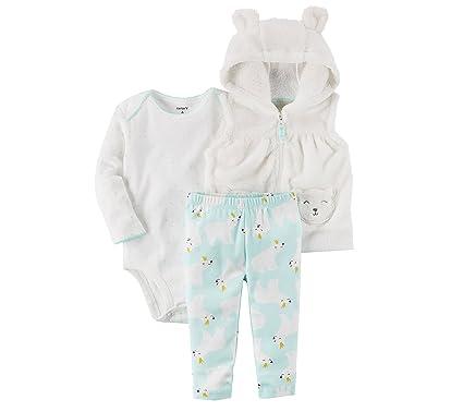 2abb60112cdc4 Carter's Baby Girls' 3 Piece Polar Bear Vest Little Jacket Set 18 Months