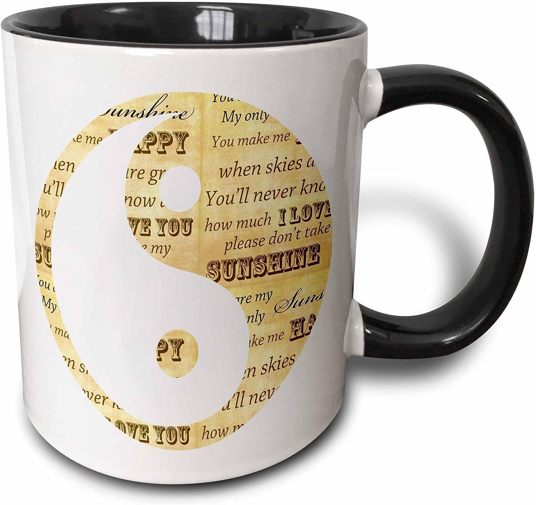 Amazon Com 3drose You Are My Sunshine Yin Yang Inspirational Art Two Tone Mug 11 Oz Black White Kitchen Dining