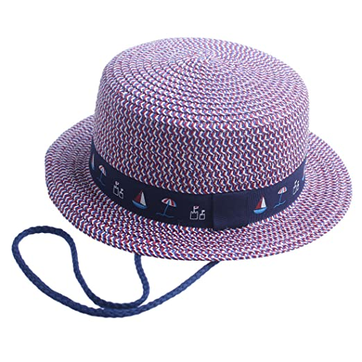 59c7132fd75 Amazon.com  Toddler Boys Fashion Federal Straw Sun Hat Beach Hat with Flat  Round Brim (Colored