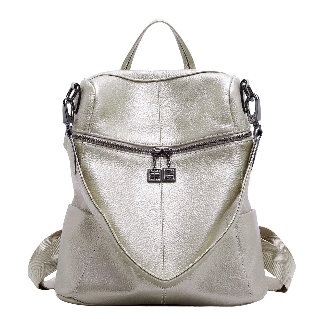 BOYATU Convertible Genuine Leather Backpack Purse for Women Fashion Travel Bag